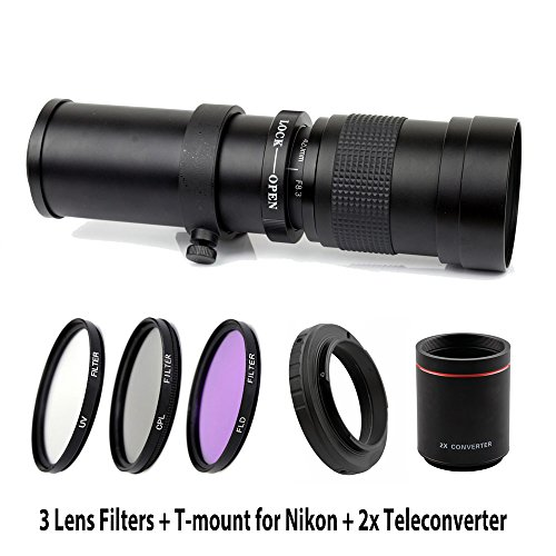 Lightdow 420-1600mm F/8.3-16 Super Telephoto Manual Zoom Lens + 67mm UV/CPL/FLD Filter Kit for Nikon D850, D810, D800, D750, D700, D610, D3100, D3200, D3300, D3400, D5100, D5200, D5300, D5500, D5600