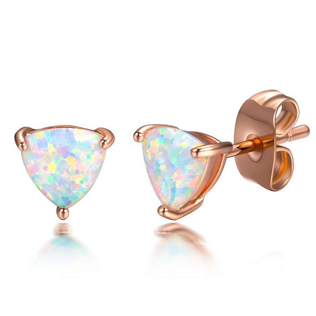 Peony.T Rose Gold Plated Triangle Opal Stud Earrings For Sensitive Ears Can Be A Gift