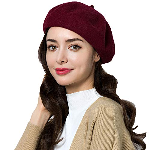 Exlura 95% Wool Beret Artist Hat French Hat Casual Solid Color Winter Hat for Women for $<!--$15.99-->