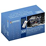 The Christmas Workshop 300 Remote Control LED Snowing Icicle Lights, Blue