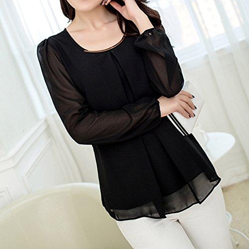 SODIAL Chemisier en mousseline de soie a manches longues Slim O-col recreatif pour Femmes Tops T-shirts noir XL