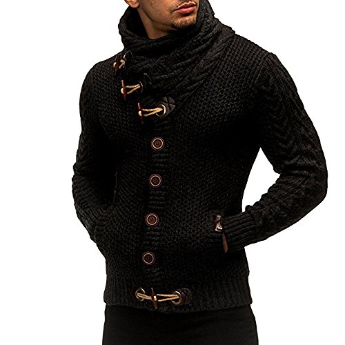 Kemilove Mens Sweaters Turtleneck Cable Knit Button Down Cardigans Chunky Casual Fall Winner Coat