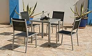 """Hevea–Mesa de jardín """"Perseo '70cm + 4sillas"""