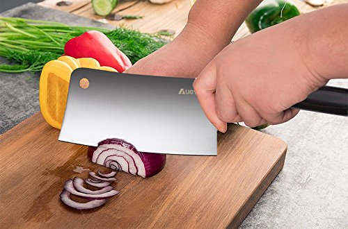7 Inch Meat Cleaver, AUGYMER German High Carbon Stainless Steel Chinese Vegetable Cleaver Knife with Ergonomic Wood Handle for Kitchen and Restaurant by AUGYMER (Image #2)