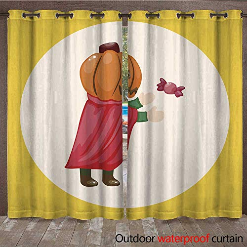 RenteriaDecor Outdoor Balcony Privacy Curtain Halloween Party Costume Theme Elements W108 x L84 ()