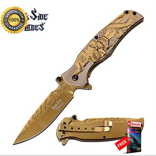 SPRING ASSISTED Folding Sharp KNIFE Gold Blade Skull Serpent Fantasy Tactical EDC Combat Tactical Knife + eBOOK by Moon Knives