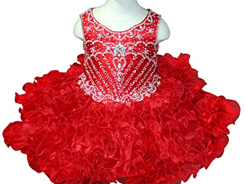 HuaMei Infant Scoop Crystals Ruffled National Cupcake Pageant Dress 1T US ()
