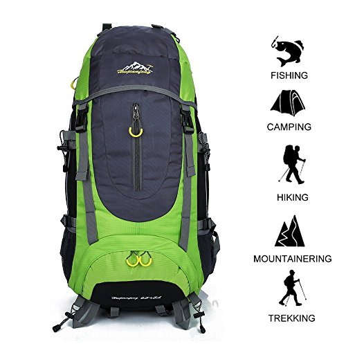 Hiking Backpack 70L Waterproof Ultra Lightweight Daypack Travel Climbing Fishing Backpack, Internal Frame Backpack,Trekking Camping Outdoor Backpack Bag with a Rain Cover (Green)