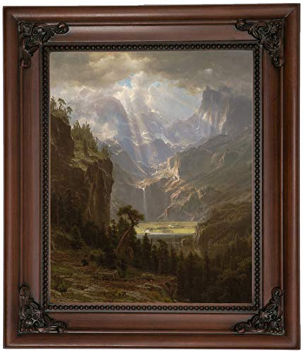 Historic Art Gallery Rocky Mountains, Lander's Peak 1863 by Albert Bierstadt Framed Canvas Print, Size 8x10, Brown