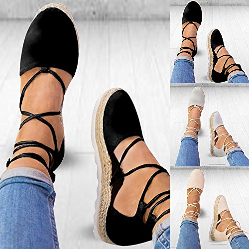 Poplover Women Lace up Platfrom Sandals Closed Toe Ankle Wrap Espadrille Shoes Black K9ylwsX