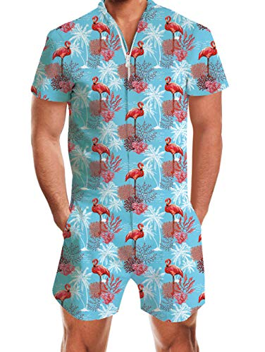 uideazone Men Romper Flamingo Pattern Funny Zip up Short Sleeve Jumpsuit Short Cargo Pants for Beach Casual Couples Party