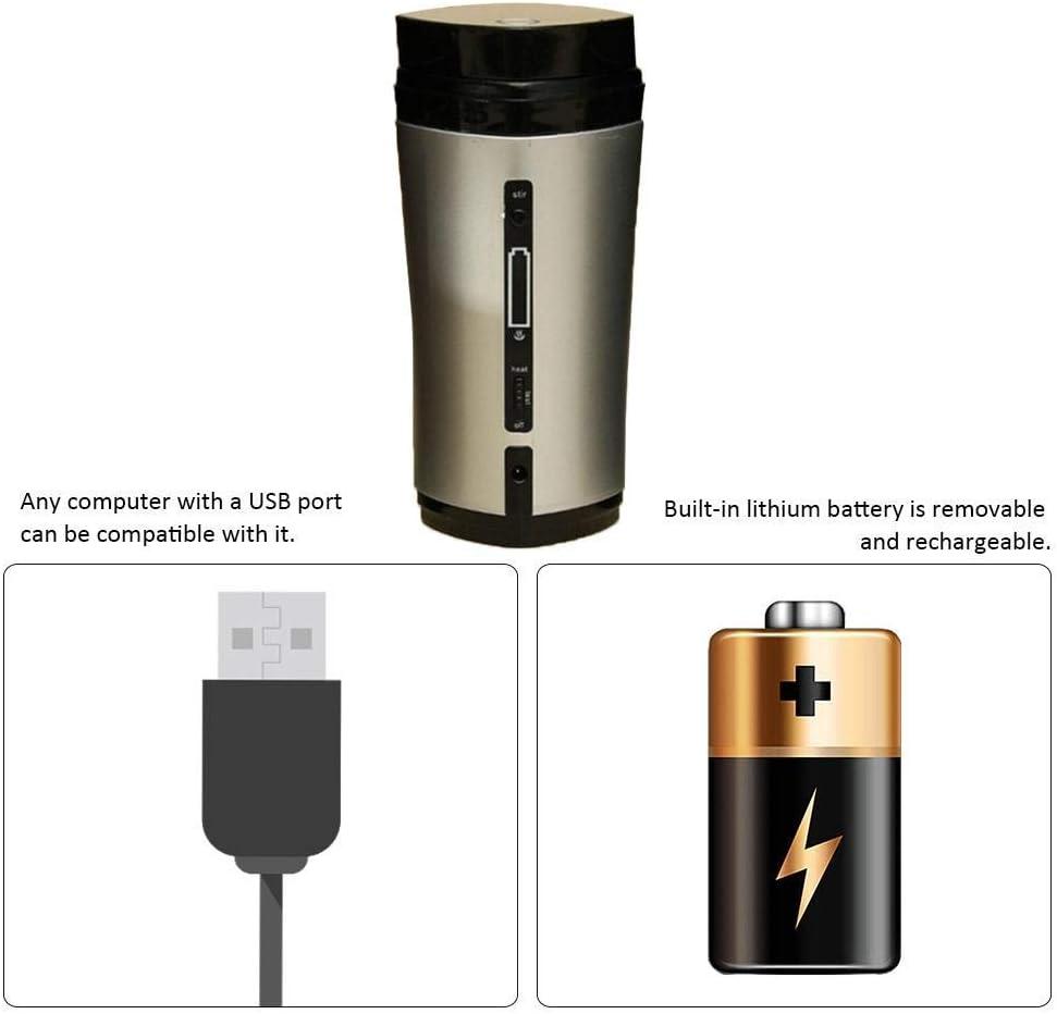 Crystallly Taza De Caf/é To Go Taza Termo Taza De Vac/ío Estilo Simple USB Recargable Autom/ática Taza Calentada Taza De Viaje Aislada por Vac/ío para Color : Schwarz, Size : Size