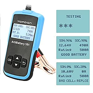 Car Battery Testers, TT TOPDON Auto Battery Analyzer 12V 100-2000 CCA for Battery Load Tester, Cranking and Charging System (AB101)