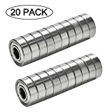 608 bearing sealed - 608ZZ 8 x 22 x 7 mm Deep Groove Ball Bearing, 20 Pcs Double Metal Shielded, Fit for Skateboard Bearings, 3D Printer RepRap Wheel, Longboard, Roller Skates, Inline Skates, Scooters etc. (Pack of 20)