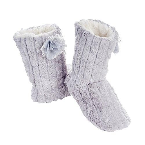 Pantofole Di Avvio Al Coperto Dinverno Caldo Di Peluche Delle Donne Di Plage Alto Grigio
