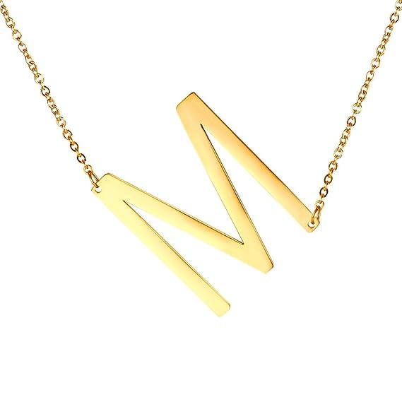 8900e106387e U7 mujer entre copas grandes collares iniciales letra grande nombre de  script collares de acero chapado