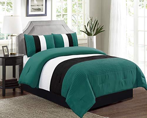 GrandLinen 4-Piece Queen Size Down Alternative Bedding Teal Blue/Black White Pin Tuck Stripe Regatta Comforter Set (Tuck Bedding Pin)