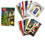 """50 Count Bonus Assortment Christmas Cards Assorted. Card Size: 4.625"""" X 6.75"""" 16 Assorted colors and designs with White Envelopes. Classic Christmas Holiday scenes. Variety of Inside messages."""