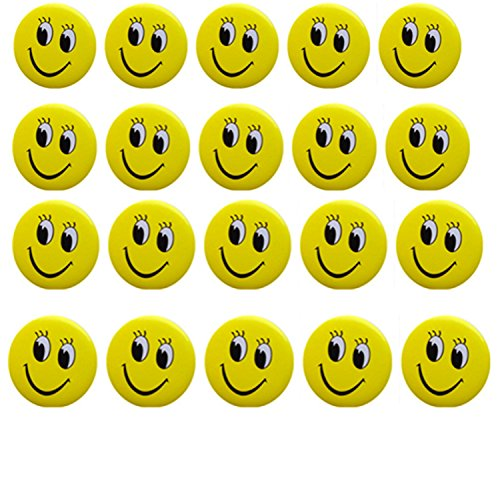 (Classic Smiley Face 1 1/4 Inch Badge Button Pin Pinback Button Set, 20-pieces)