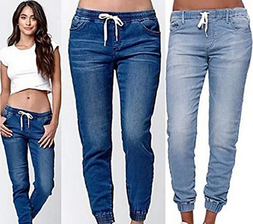 Moda Quotidiani Navy Simple Pantaloni Denim fashion Blu Con Bende Lungo Donne Sottile Jeans Trousers Zp6v4qwC