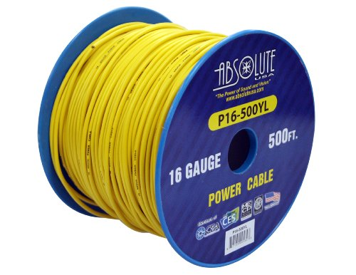 Absolute USA P16-500BK 16 Gauge 500-Feet Spool Primary Power Wire Cable Black