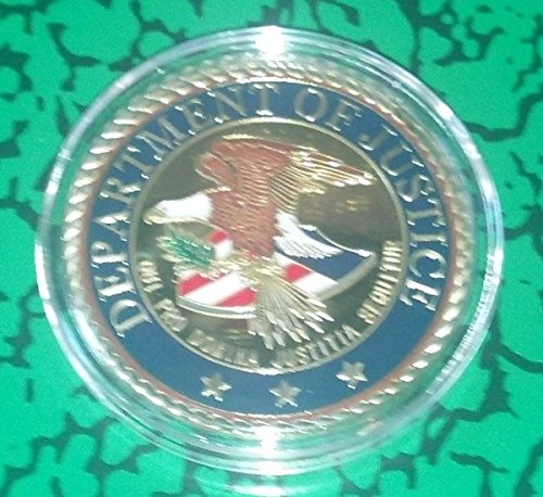 US DOJ Department of Justice Colorized Challenge Art Coin (Plated Gold Justice)