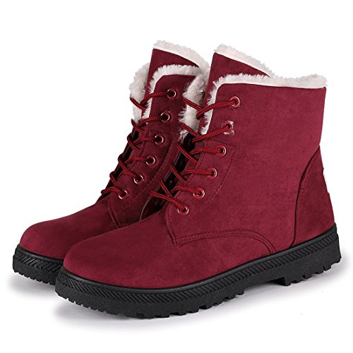 suede Boot Red Not100 Woman Waterproof Fashion Warm wFx4wYEXq