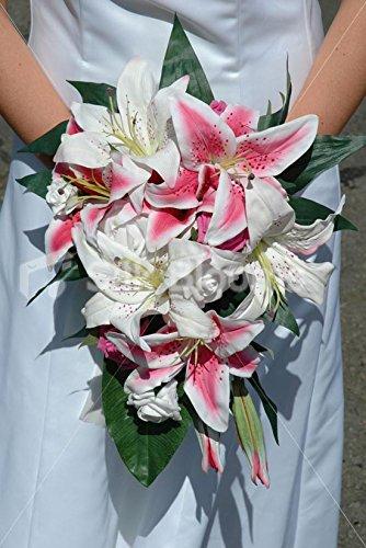 Gorgeous Pink & White Stargazer Lily Cascading Wedding Bouquet