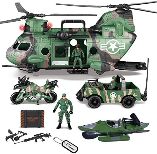 JOYIN 10-in-1 Jumbo Military Transport Helicopter Toy Set Including HelicopterRealistic Light & Sound Military Truck Kayak boat Motorcycle Army Men Action Figures and Weapon Gear Accessories