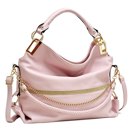 - Dasein Women's Classic Rhinestone Detail Large Hobo Bag Top Handle Purse Shoulder Bag w/Shoulder Strap (1-7350 Pink)