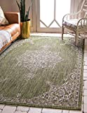Unique Loom Outdoor Traditional Collection Classic Medallion Transitional Indoor and Outdoor Flatweave Green  Area Rug (7' 0 x 10' 0)