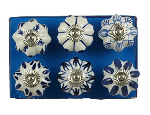 (Jaipur Market 6 Count Decorative Ceramic Drawer Pull Knobs Blue and White)