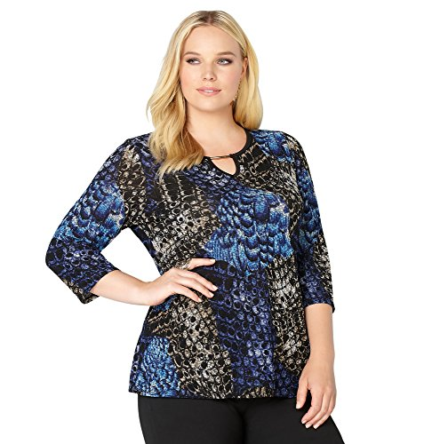 -AVENUE Women's Abstract Texture Top with Keyhole Neck, 26/28 Blue Print
