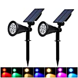 T-SUN Solar Spotlights, 7 LED Color Changing Landscape Outdoor Garden Pathway Solar Power