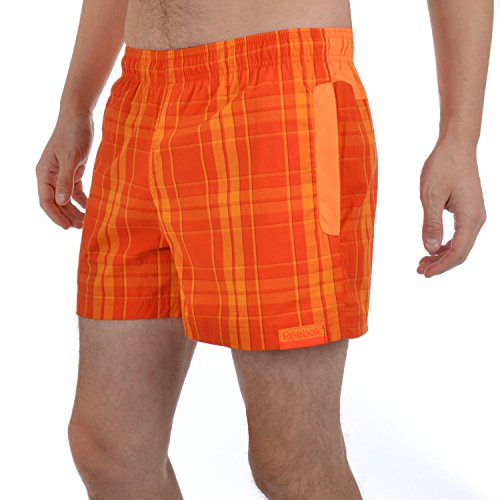 Reebok Mens Regular Fit Checked Swim Shorts - Orange - S