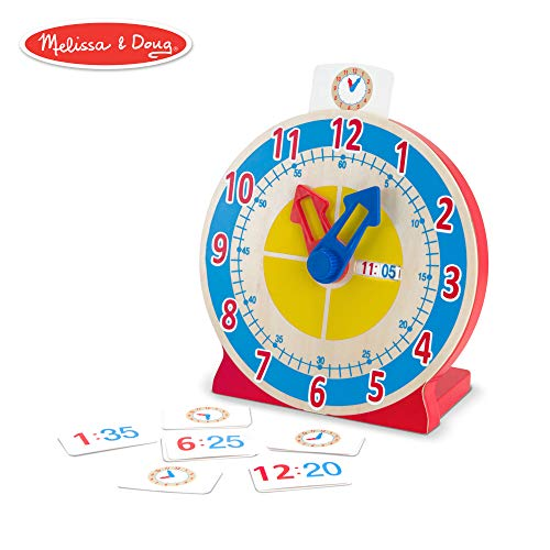 Melissa & Doug Turn & Tell Wooden Clock (Educational Toy, 13 Reversible Time - Clock Demonstration
