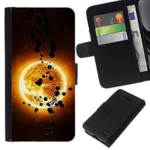 // PHONE CASE GIFT // Moda Estuche Funda de Cuero Billetera Tarjeta de crédito dinero bolsa Cubierta de proteccion Caso LG OPTIMUS L90 / The Sun & Asteroids /