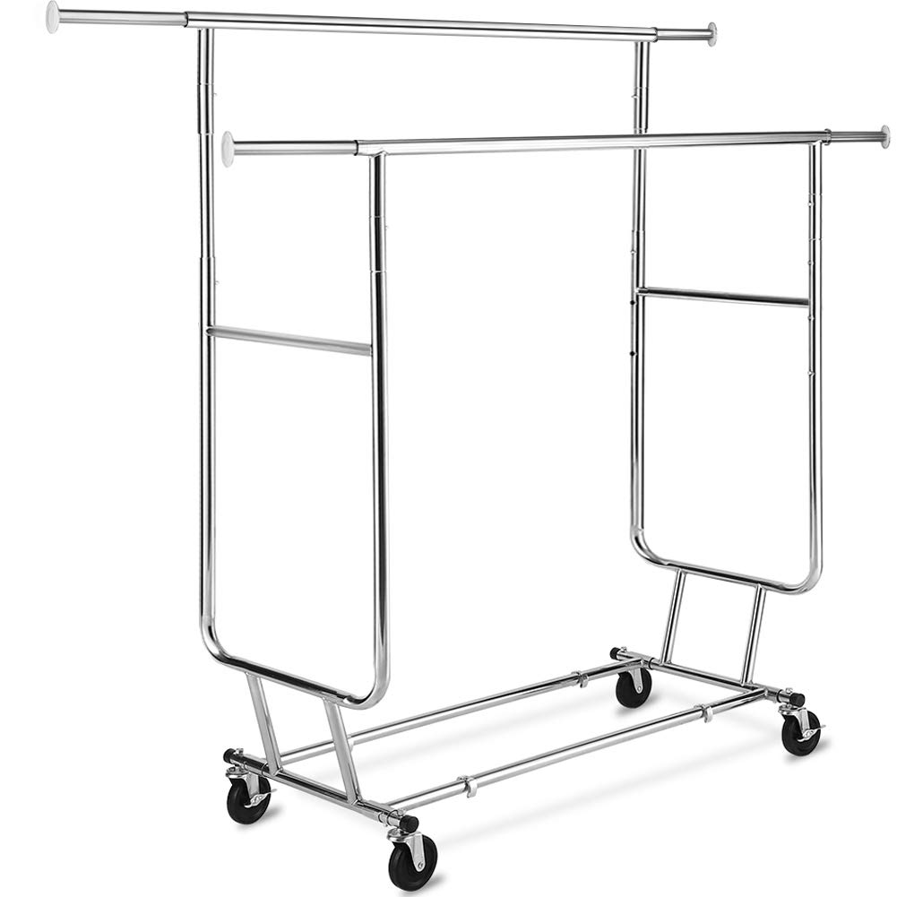 TomCare Garment Rack Double Clothes Racks Adjustable Clothing Rack Extensible Clothes Hanging Rack Commercial Grade Garment Rolling Racks for Hanging Heavy Duty Stainless Steel Garment Rack on Wheels