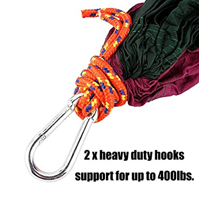 Yosoo(TM) Double Hammock - Lightweight Indoor and Outdoor Nylon Parachute Hammocks for Camping, Backpacking & Travel. Tree Ropes Included (purple & green)