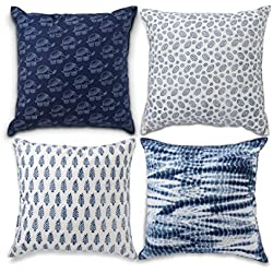 Decorative Throw Pillow Covers for Couch Sofa or Bed Room, Bohemian Cushion Cover Throw Set of 4 Geometric Design 18x18 Elephant Tie Dye Designer Cotton Pillow Cases for Bedroom, Indigo Blue Theme
