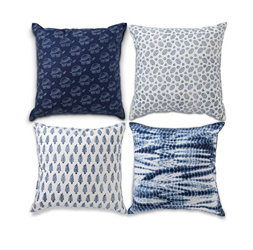 - Folkulture Decorative Throw Pillow Covers or Cushion Covers Cases for Couch, Sofa, Bedroom Set of 4 18X18 for Home or Farmhouse Decor, Indigo Blue Shibori