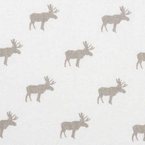 CA Beautiful White Grey Moose Flannel Fitted Crib Sheet, Animal Themed Nursery Bedding, Infant Child Toddler Cute Adorable Gray Nature Forest Woods Cozy Warm, Cotton by CA (Image #2)