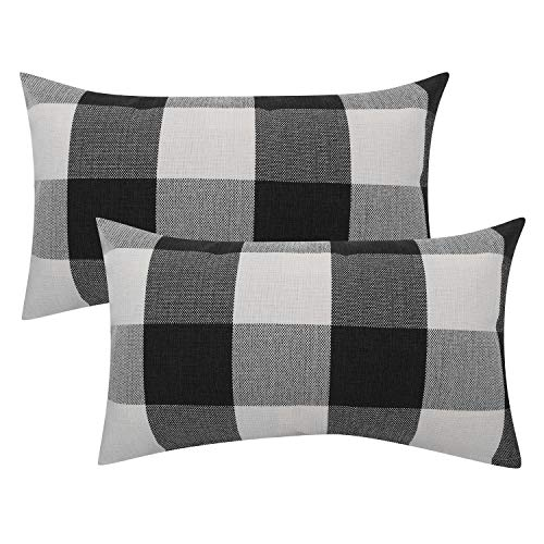Checkered Pillow (Lewondr Checkered Throw Pillow Case, 2 Pack Breathable Wrinkle-Resistant Linen Throw Pillow Protector Plaid Cushion Cover Home Decor 20 x 12 Inch - Black&White)