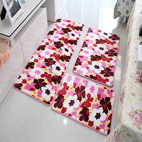Dal-Msee 3 pcs/Set Coral Fleece Carpets Floral Pattern Anti Slip Bathroom Kitchen Doormat Living Room Floor Mats