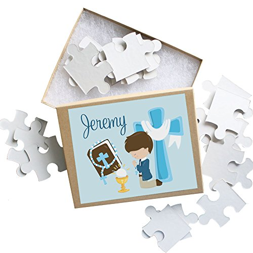 First Holy Communion Personalized Puzzle for Boys, 9.75 X 8 Custom 20 Piece Puzzle with Your Child's Name on it. A Great Gift idea for 1st Communions by AmandaCreation -