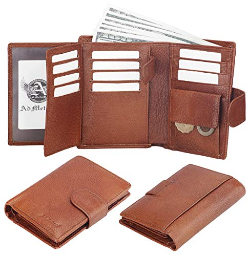 Admetus Men's Soft Genuine Leather Card Holder Coin Purse Bifold Wallet Brown - Fold Snap Bi