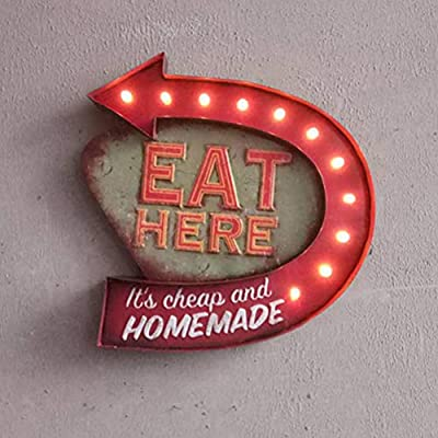 Vosarea Retro LED luz Sign Eat Here Colgante de Pared ...