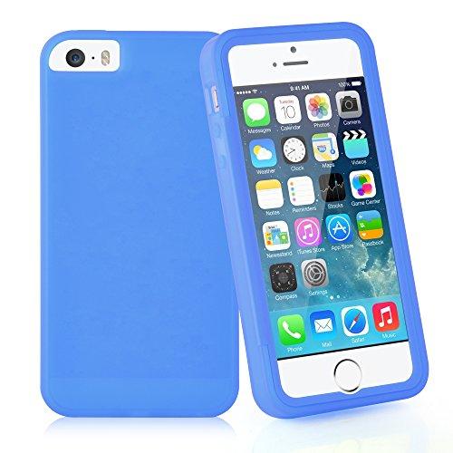 Cadorabo - Cubierta protectora para Apple iPhone 5 / 5S / 5G de silicona TPU Cuerpo Completo Full Body - Case Cover Funda Carcasa Protección en AZUL AZUL