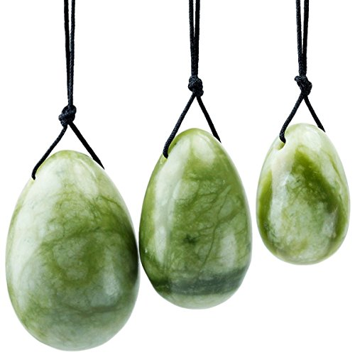 rockcloud Green Jade Set of 3 Drilled Yoni Eggs with String, Massage Stones for Women to Train Pelvic Muscles Kegel Exercise
