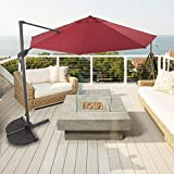 G-House 11.5 FT Deluxe Cantilever Offset Hanging Umbrella 360 Rotation Foot Crank with Cross Base(Wine)